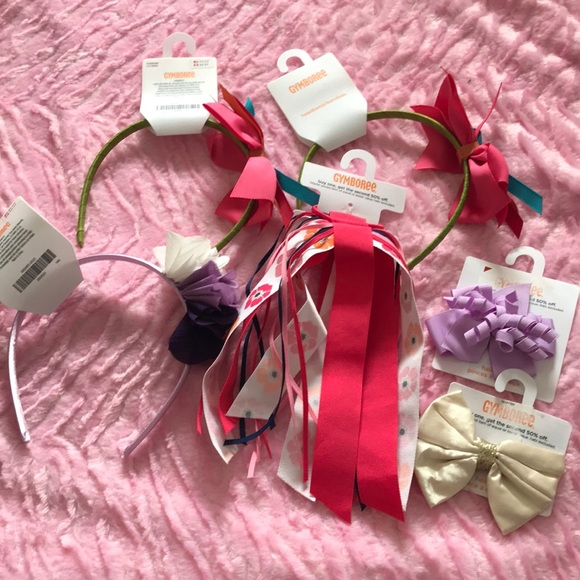 Gymboree NWT 2 piece Red Pink SWEATER BOW METAL CLIPS DRESS HAIR ACCESSORY ~ OS